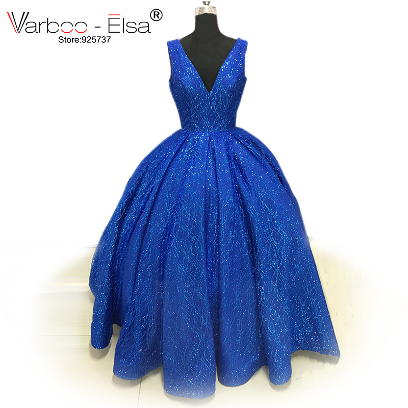 VARBOO ELSA New V neck Saudi Arab Evening Gowns royal blue prom dresses shiny Floor Length