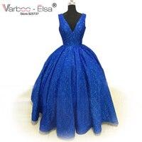 VARBOO_ELSA Новый v образным вырезом саудоаравийском вечерние платья Королевский синий цвет платья для выпускного вечера Блестящий пол Длина ве