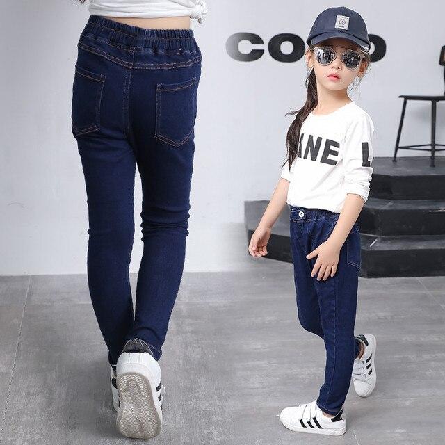 2016 зима детская одежда девушки джинсы тонкий высокая талия сгущает руно девочка джинсы для девочек большие дети жан длинные брюки