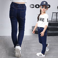 2016 winter children's clothing girls jeans slim high waist thicken fleece baby girl jeans for girls big kids jean long trousers