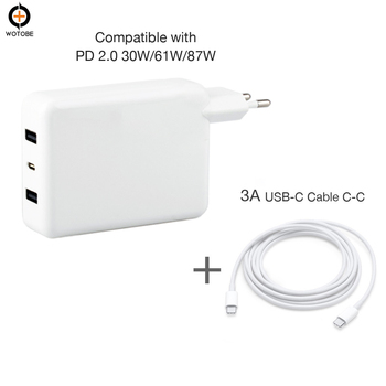 3Ports USB-C Power adapter 18W 30W 60W PD Charger For MacBook Pro/Macbook/iPhone/iPad Huawe/Samsung (Standardized USB-C cable) аксессуар блок питания apple 60w magsafe2 power adapter for macbook pro md565z a