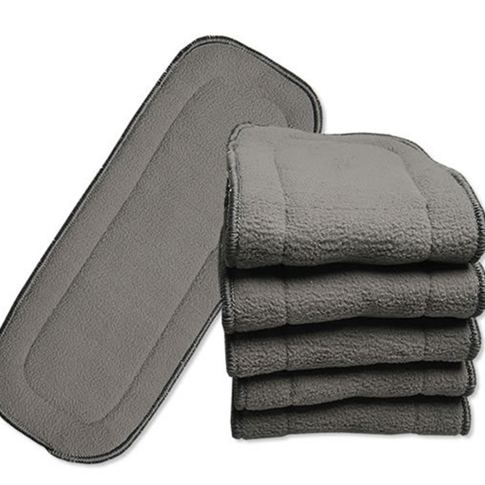 4 Pcs Bamboo Charcoal 5 layers Baby Diaper Washable insert New Infant Cotton Inserts Cloth Diaper