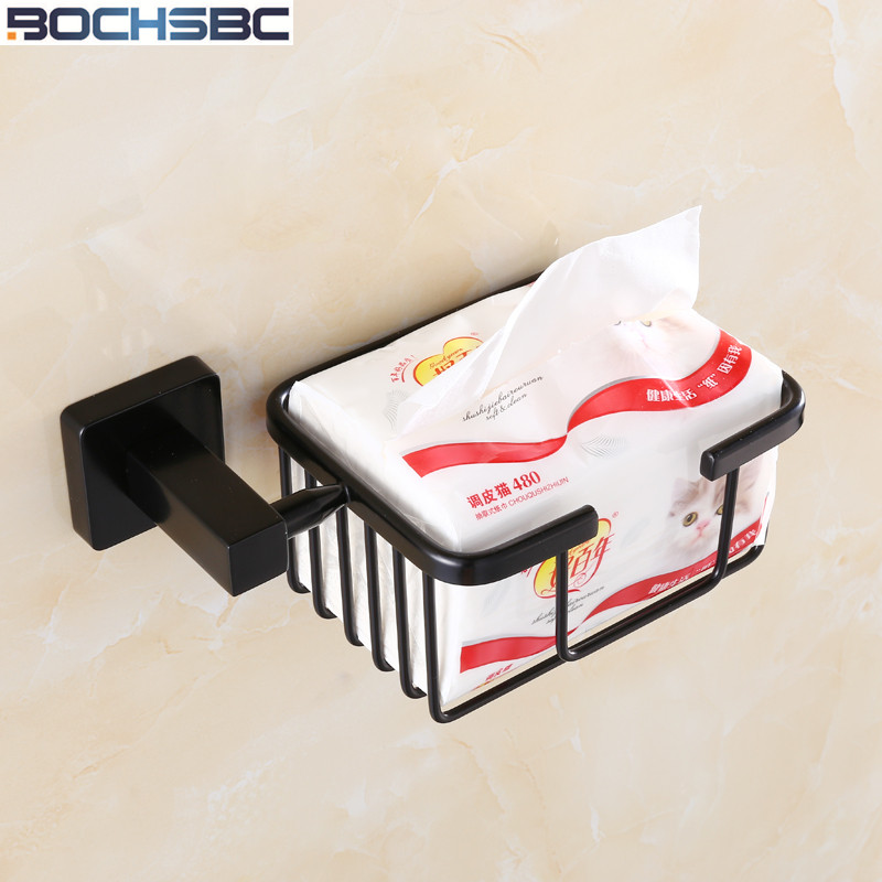Black Paper Holders Wall Mounted Bathroom Accessories European Towel Black Toilet Paper Basket Stainless Steel Tissue Boxes the ivory white european super suction wall mounted gate unique smoke door
