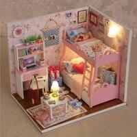 DIY 3D Dollhouse Paper Miniature Furniture Model Building Kits Set LED Light Kids Grils Gift Lepin