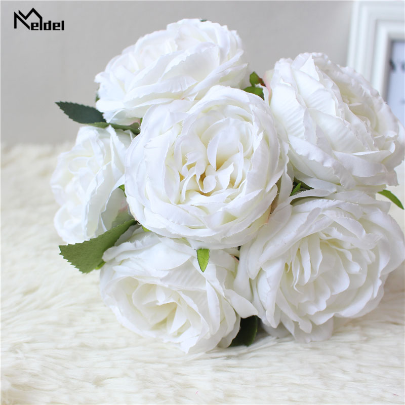 Meldel Wedding Bridal Bouquet Bridesmaid Bouquet Artificial Silk Rose Peony Flower White Home Party Supplies Wedding Accessories