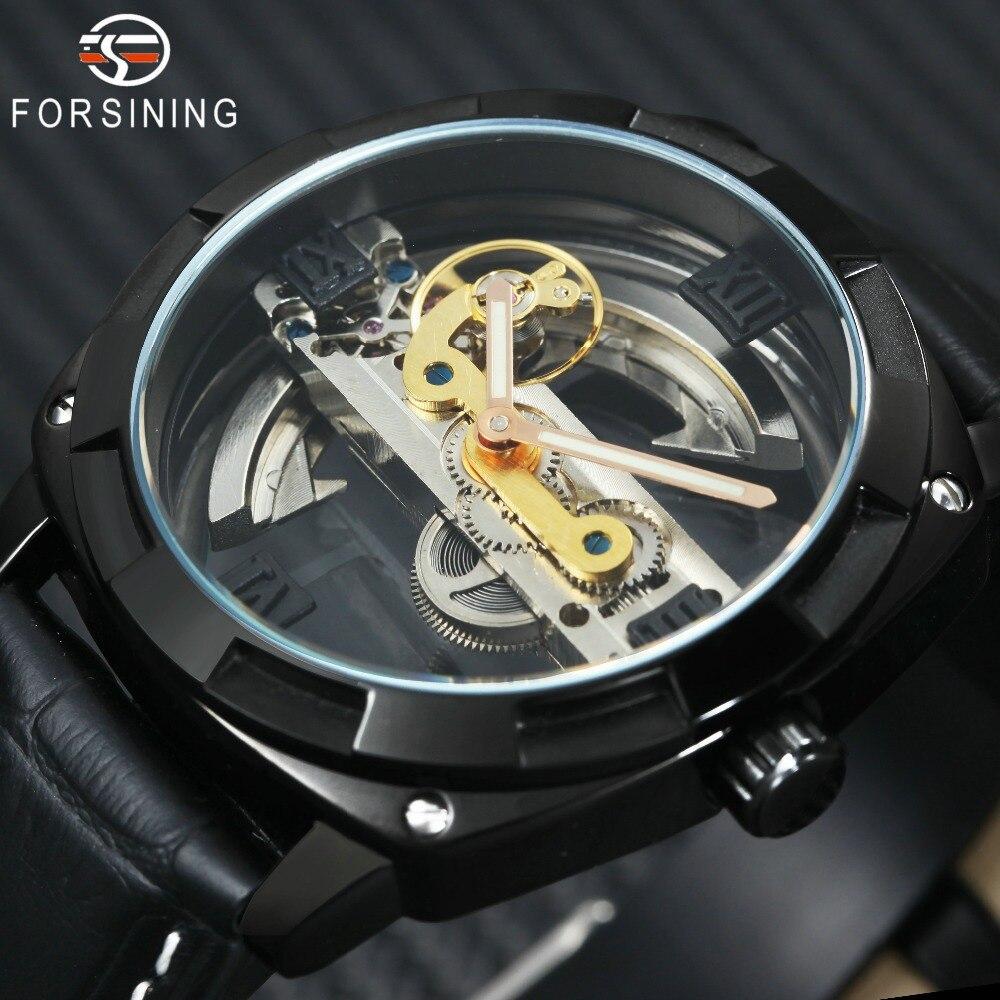 FORSINING Golden Bridge Mens Watches Top Brand Luxury Genuine Leather Strap Carved Movement Transparent Case Fashion Wristwatch все цены