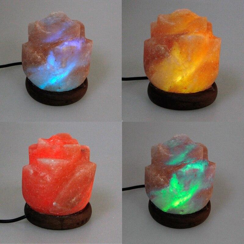 Flower Hand Carved USB Wooden Base Himalayan Crystal Rock Salt Lamp Air Purifier Night Light