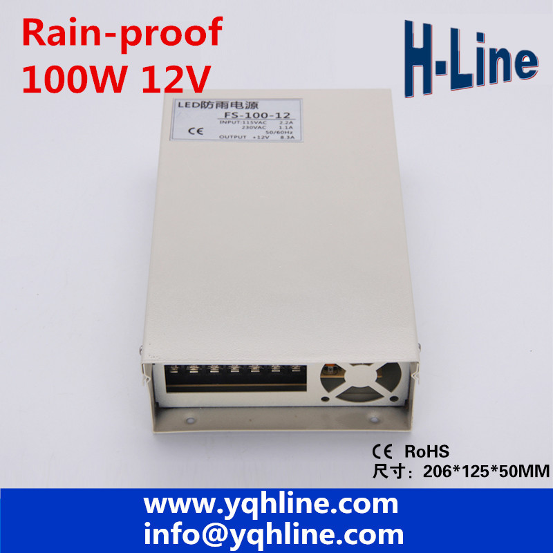 цена на 12V 8.5A 100W rainproof Switching led Power Supply,170~264V AC input 12V DC output for led strips free shipping