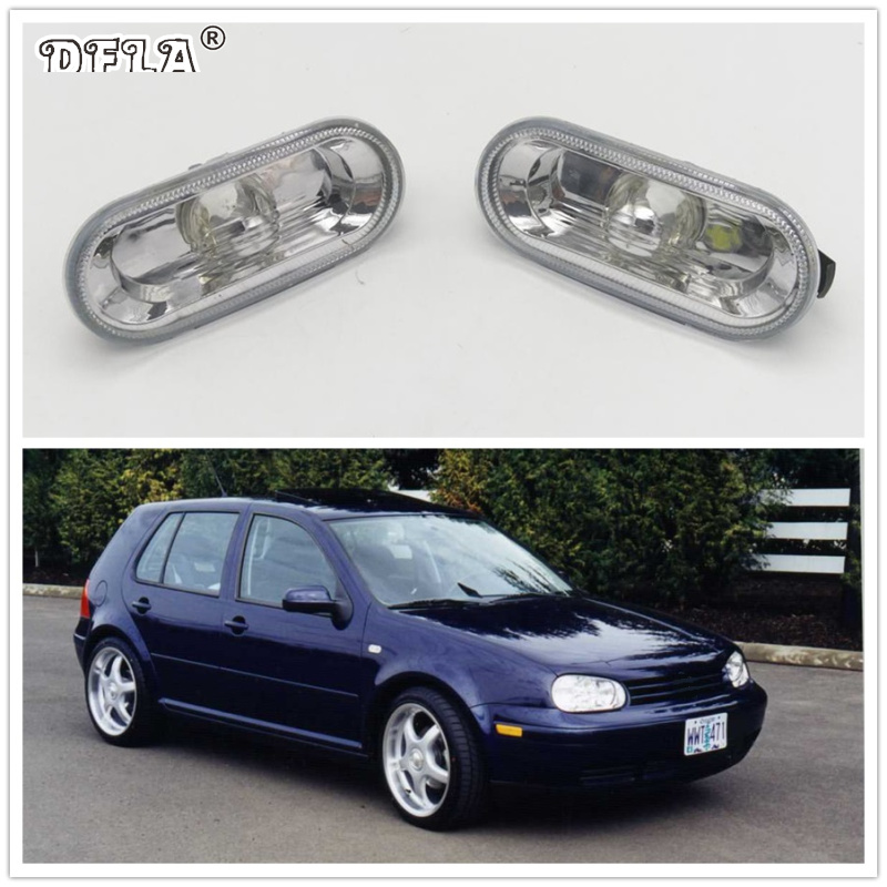 2pcs For VW Golf 4 MK4 1998 1999 2000 2001 2002 2003 2004 2005 2006 Car-Styling Side Marker Turn Signal Light Lamp Repeater jeazea glove box light storage compartment lamp 1j0947301 1j0 947 301 for vw jetta golf bora octavia 2000 2001 2002 2003 2004