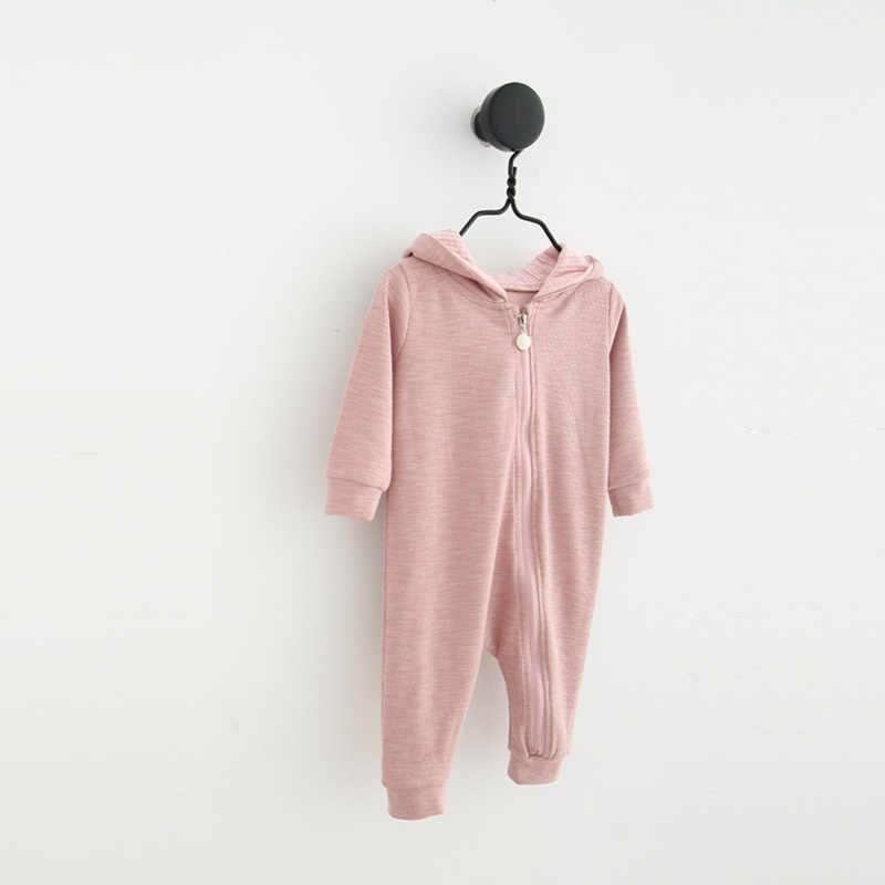 Одежда для новорожденных девочек и мальчиков милый комбинезон с ушками, яркий комбинезон, осенне-зимний теплый детский цельнокроеный комбинезон 2018