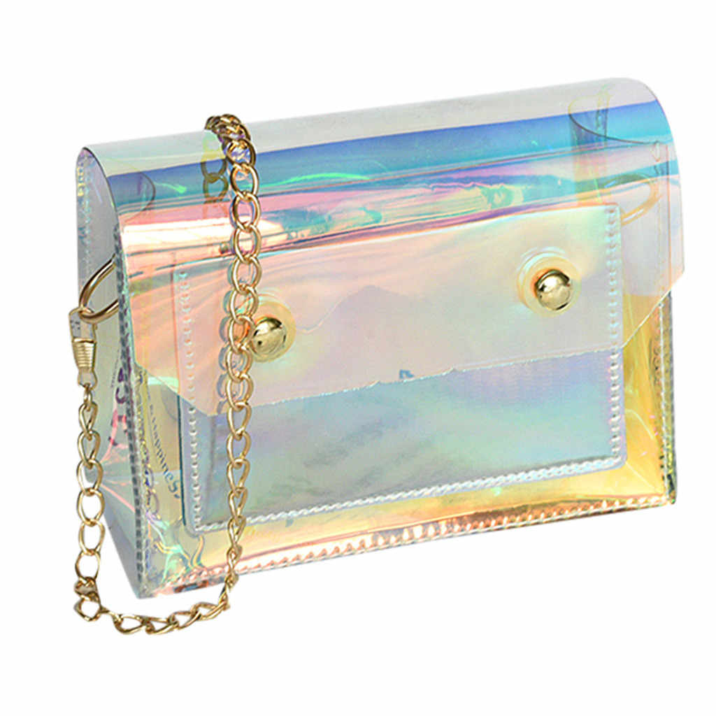 Fashion Lady Personality Transparent Jelly Chain Shoulder Wild Messenger PVC Bag Chain Mobile Phone Shoulder Beach bags 2019