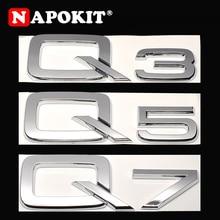 Superior plástico abs chrome 3d adesivo para audi q3 q5 q7 a3 a4 a5 a6 a7 a8 logotipo do carro estilo traseiro decoração emblema decalque
