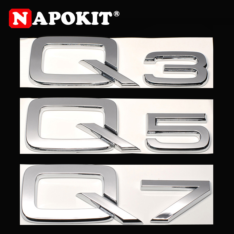 TOP ABS Plastic Chrome 3D Sticker for Audi Q3 Q5 Q7 A3 A4 A5 A6 A7 A8 Logo Car Styling Car Rear Decoration Emblem Badge Decal-in Car Stickers from Automobiles & Motorcycles
