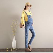 Summer Casual Maternity Overalls Jeans Adjustable Belly Pregnant Long Denim Pants Double Breasted Pregnancy Suspender Trousers