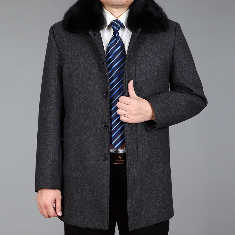 2020 New Arrival Men Wool Coat Winter Blend Coat Real Rabbit Fur Autumn Woolen Long Coats Wool Jacket Male Pea Coat Thick M-4XL