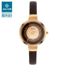 Julius Lady women s Wrist Watch Quartz Hours Best Fashion Dress Korea OL Leather Bracelet Girl