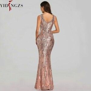 Image 3 - YIDINGZS Neue Formale Pailletten Abendkleid 2020 V ausschnitt Friesen Abend Party Kleid YD360