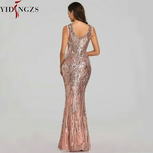 Image 3 - YIDINGZS New Formal Sequins Evening Dress 2020 V neck Beading Evening Party Dress YD360