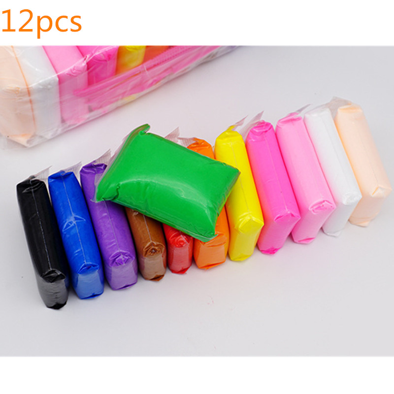 12pcs 24pcs 36pcs bag Light Clay Colored Playdough Toys Slime Dry Hand Kid Casting DIY Soft Plasticine Toy Polymer With Tool in Modeling Clay from Toys Hobbies