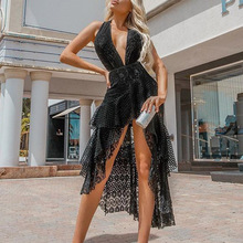 Vintage lace halter back sexy irregular summer dress Women v-neck backless holiday dress Elegant party beach dress