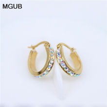 MGUB 2 color selection Small 15mm-60mm color crystal earrings Stainless steel popular women jewelry Comfortable to wear LH385