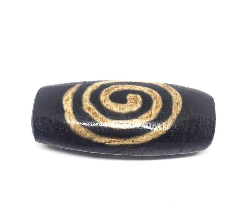 DIY Flat Shape Spiral Pattern Natural Agate Stone Dzi Beads Loosing Beads for DIY Jewelry Free