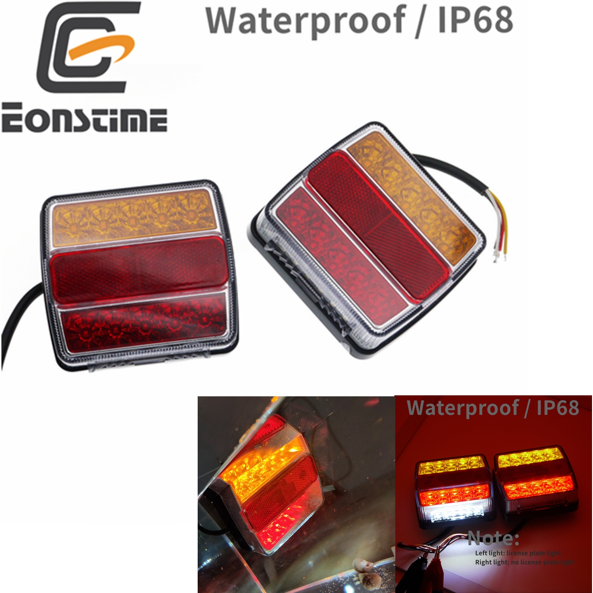 Eonstime 2pcs DC 12V 16LED Truck Car Trailer Boat Caravan Rear Tail Light Stop Lamp Taillight Waterproof IP68
