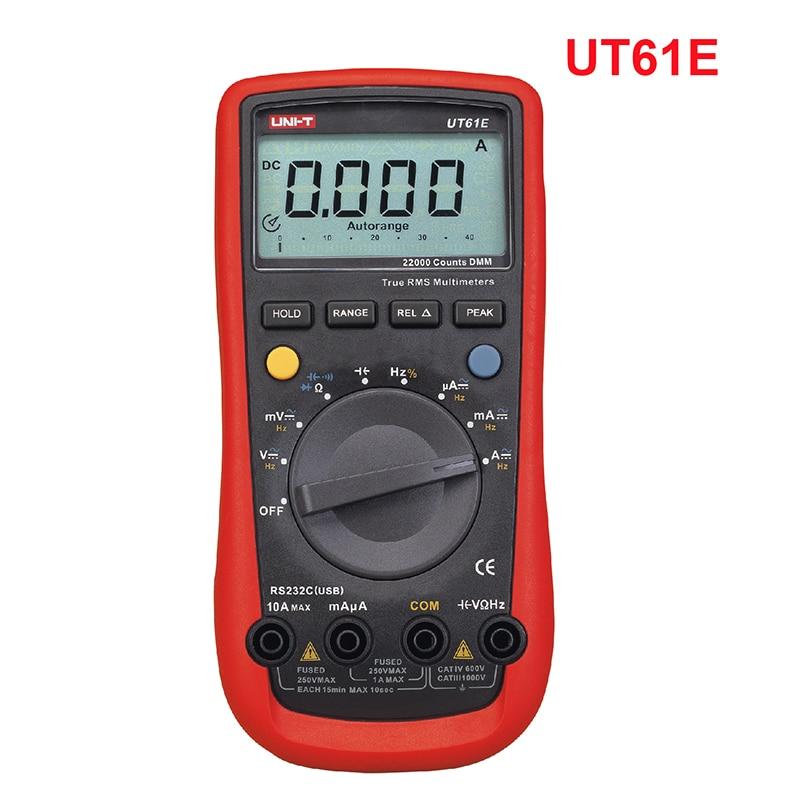 UNI-T UT61E auto range digital multimeter voltmeter Ammeter PC Connect AC DC Voltage resistance capacitance test 22000 Counts uni t ut61e 22000 counts true rms digital multimeter ac dc voltage current resistance capacitance tester with rs232c cable