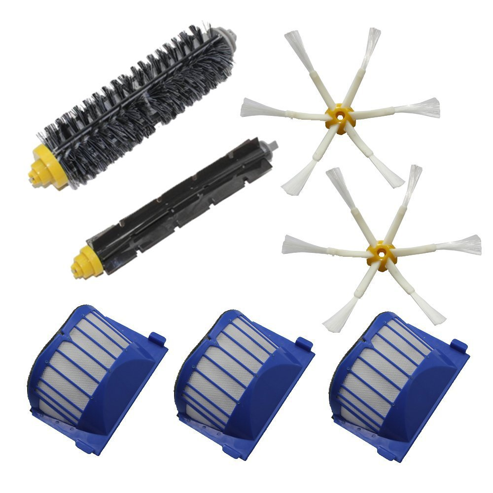 Aero Vac Filter Bristle Brush Flexible Beater Brush 6-Armed Side Brush For iRobot Roomba 600 Series (620 630 650 660) Vacuum aero vac filter bristle brush flexible beater brush 3 armed side brush tool for irobot roomba 600 series 620 630 650 660