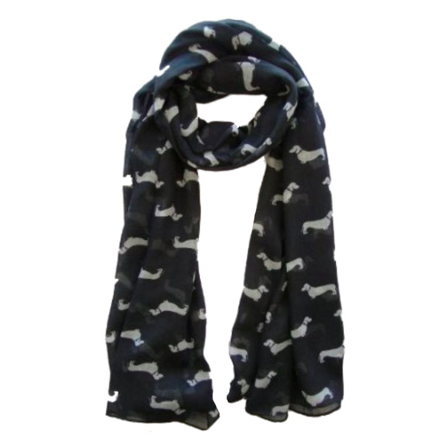 Sausage Dachshund Dog Animal Ladies Scarf Shawl Soft Feel 180 X 90cm Black