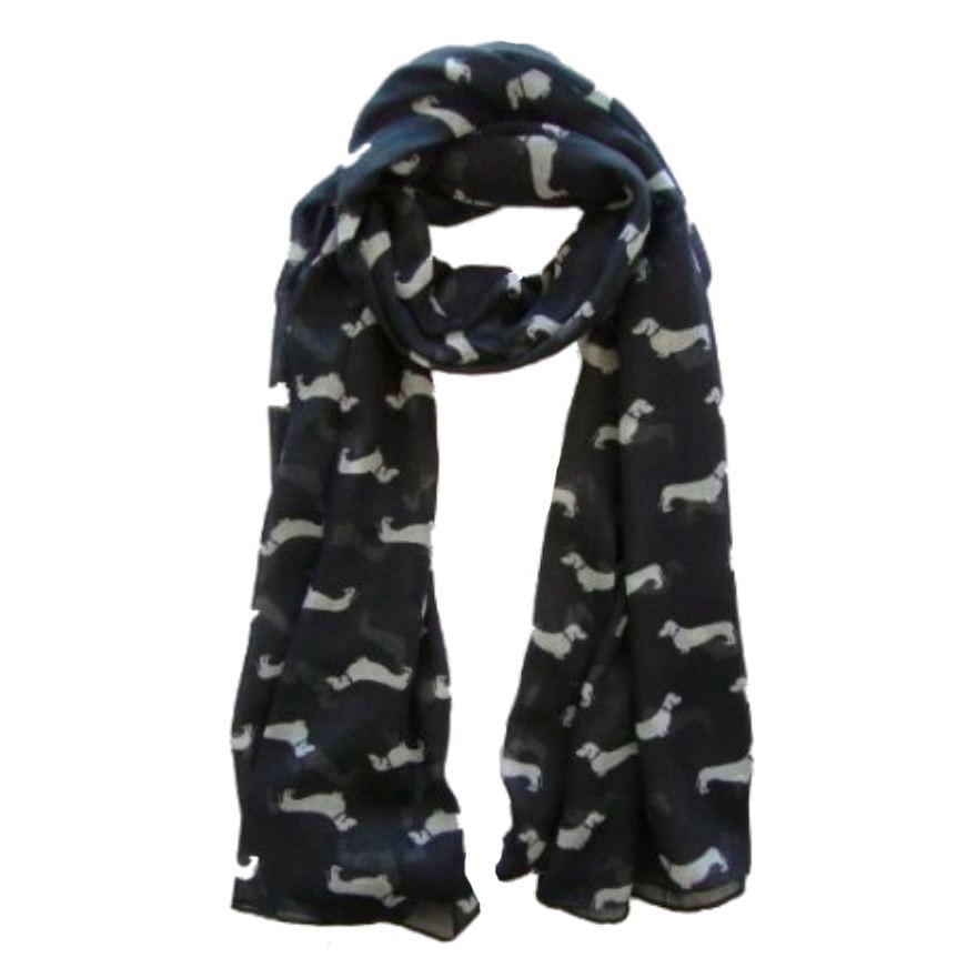 Sausage Dachshund Dog Animal Ladies Scarf Shawl Soft Feel 180 X 90cm Black