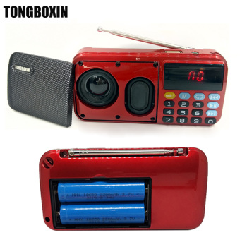 C-803 Support Two 18650 Battery Two TF Card Portable MP3 Radio Speaker Super Bass TF USB FM Player LED Torch 3.5mm Earphone Out