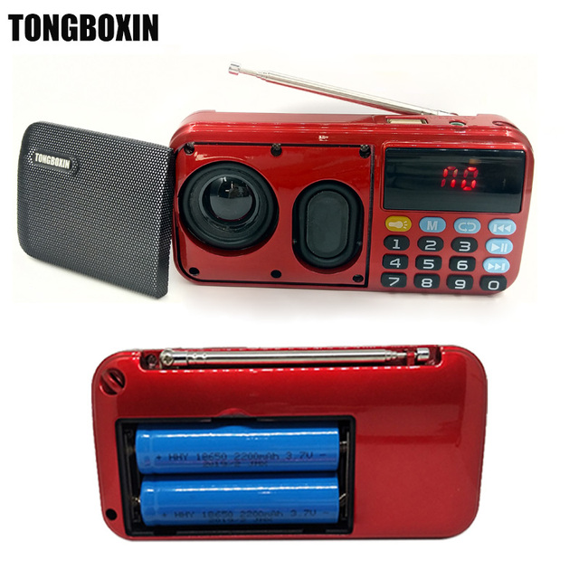 C-803 apoyo dos 18650 batería dos tarjeta del TF portátil MP3 altavoz de Radio Super Bass TF USB FM jugador linterna LED auriculares de 3,5mm fuera