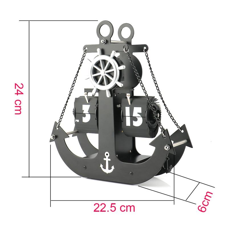 Horloge de Table horloge à bascule Pages automatiques engrenage en métal bureau Transport numéro de navire affichage Quartz horloge murale décoration de la maison horloges de bureau - 5