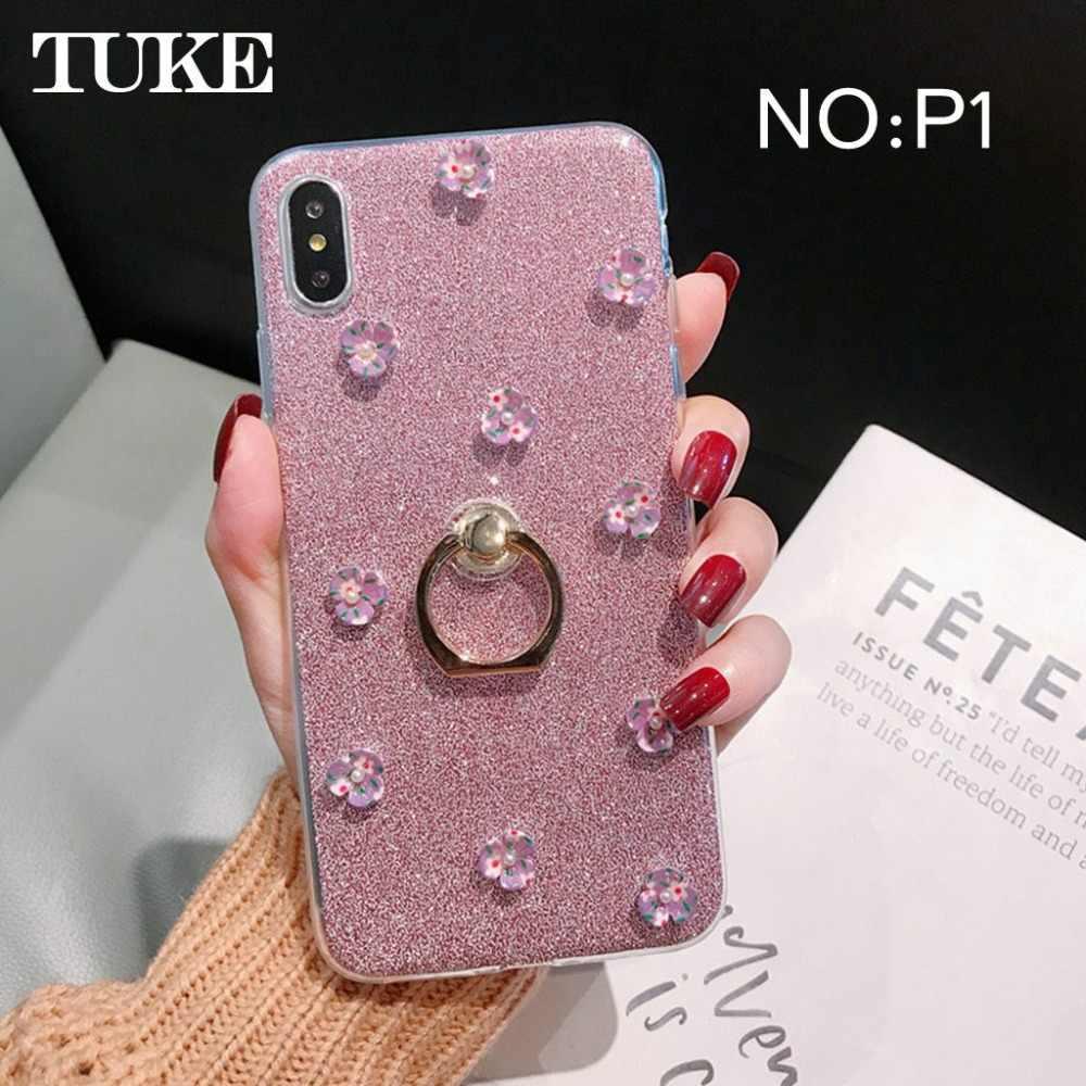 TUKE Für LG Aristo 2 Fall Glitter Bling Telefon Fall Finger Ring Halter TPU Zurück Abdeckung Für LG G7 K10 k8 2018 Q7 X Power 3 Fall