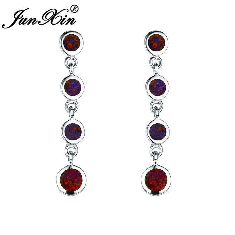 JUNXIN White Gold Filled Rainbow Fire Opal Drop Earrings For Women Round Stone Long Dangle Earrings Female Wedding Jewelry