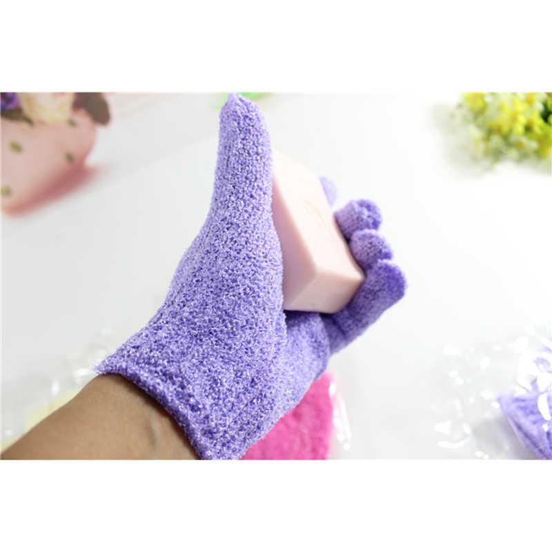 2 sztuk oczyszczanie ręcznik kąpielowy rękawice silne usuń błotniste peeling tarcie powrót z tyłu rękawice prysznicowe złuszczający peeling masaż całego ciała