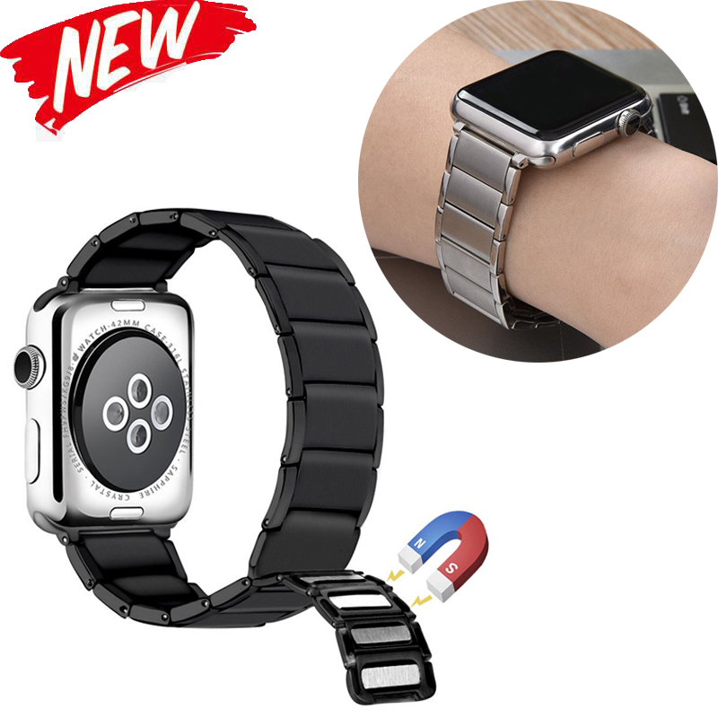 Stainless Steel Strap for apple watch band 38/42mm Metal Link Bracelet watch Strap for apple watch 4 band 40mm Series 1 2 3 44mm-in Watchbands from Watches