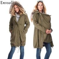 Maternity Coats Jacket Kangaroo Winter Maternity Hoody Long Sleeve Dress Outerwear Coat For Pregnant Women With