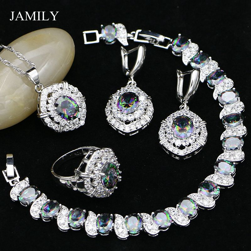 JAMILY 925 Sterling Silver Egg Jewelry Sets Rainbow CZ Beads Decoration For Women Earrings Pendant Ring Necklace Bracelet Set