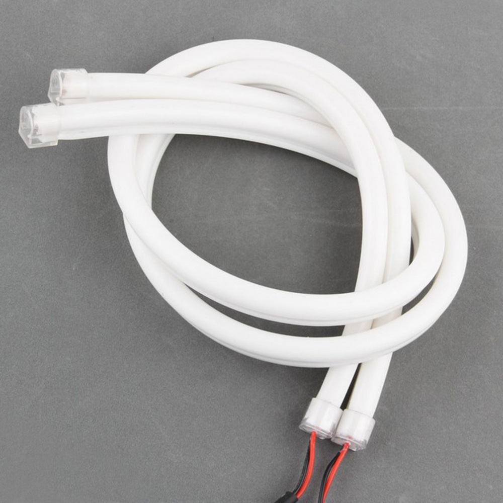 DRL Headlamp Universal Car light 2PCS/lot 45CM Flexible Tube Strip LED White car-Styling Soft Daytime Running Light Turn