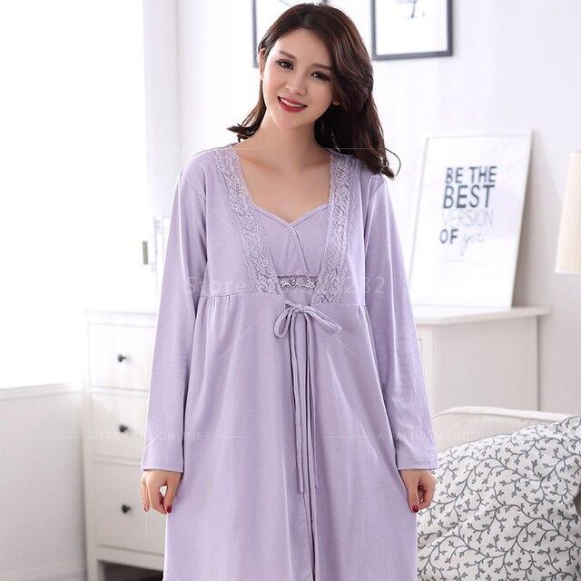 Spring Autumn Cotton Women Long Sleeved Dress Robes Lace Matured Pijama Robe Sets Sexy Women Ladies Nightgown Sleepwear Plus 3XL