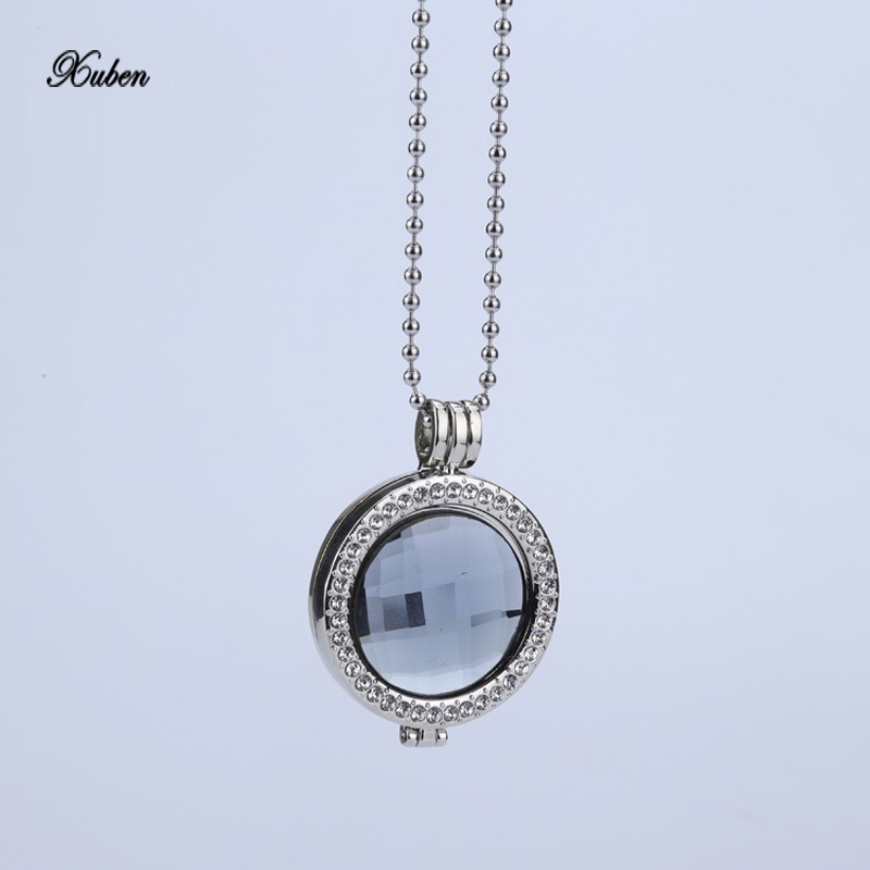 Interchangeable Disc Necklace: My Coin Necklace 33mm Coins Disc Gray Glass Crystal