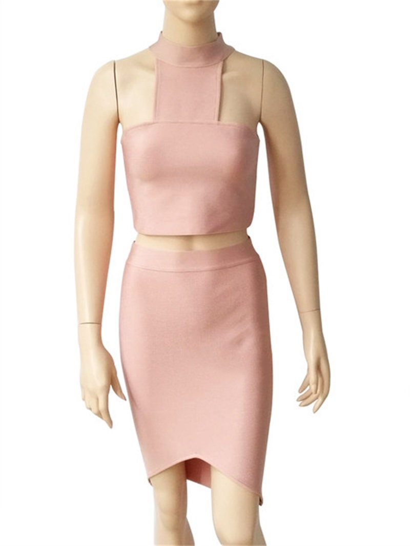 HTB14Uf3KhSYBuNjSsphq6zGvVXaH - 2018 Sexy Women Clothing Club Party 2 Piece Sets Fashion Bandage Dress Strapless Short Crop Top Patchwork Knee-Length Skirts