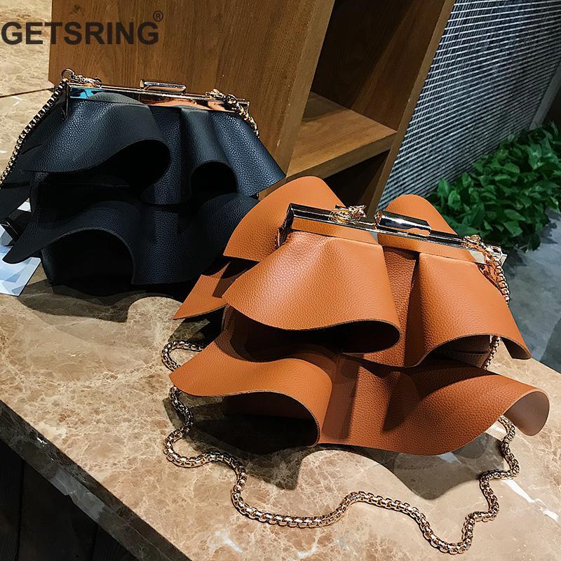 GETSRING Women Bag Mini Pleat Lace Women Messenger Bags Fashion Black Soft PU Leather Bag All