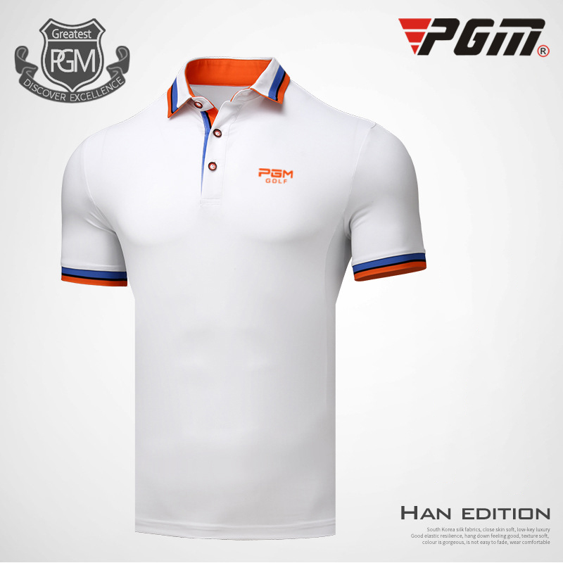 PGM Golf T-shirt For Men Breathable Quick Dry Summer Mans Sports T-shirt Anti-sweat Polyester White Golf Clothing Polo T-shirt