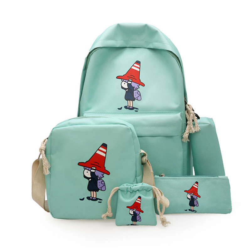 4Pcs/Set Women Girls Canvas Backpack Printed Teenagers School Backpack Book Shoulder Bags OH66