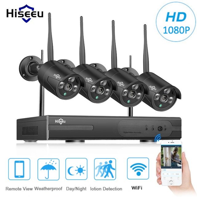 Hiseeu 1080P Wireless CCTV System 2MP WiFi WLAN 4CH NVR IP IR-CUT CCTV Camera IP Security System Surveillance Kits Video Record цена