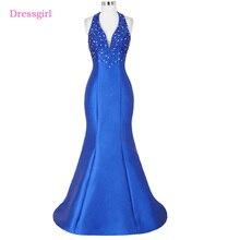 Royal Blue Evening Dresses 2018 Mermaid Halter Beaded Backless Women Elegant Long Evening Gown Prom Dress Robe De Soiree