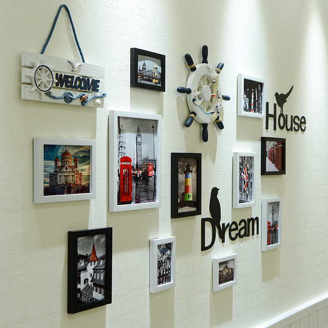 New Mediterranean Style Living Room Background Photo Frame Wall Nordic Creative Bedroom Dining Pendant Pictures Frames